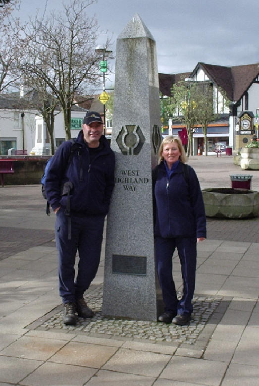 Antonio and Shirley at the start of the West Highland Way