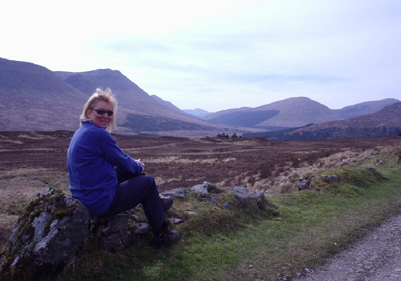 Shirley looking down Glen Orchy